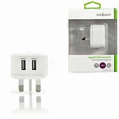 uk mains wall usb fast charger 4
