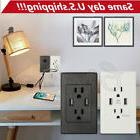 USA Dual USB Port Wall Socket Charger AC Power Receptacle Ou
