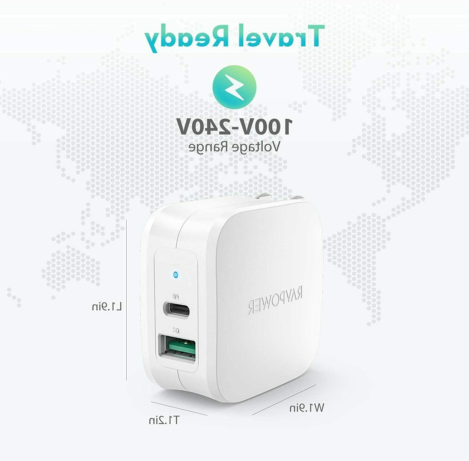 USB 30W 2 Ports Wall Charger with 18W 3.0 Fast Po