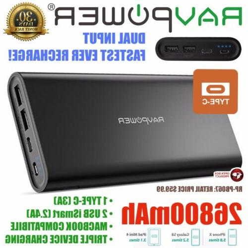 USB C Portable Charger RAVPower 26800mAh Battery Pack with D