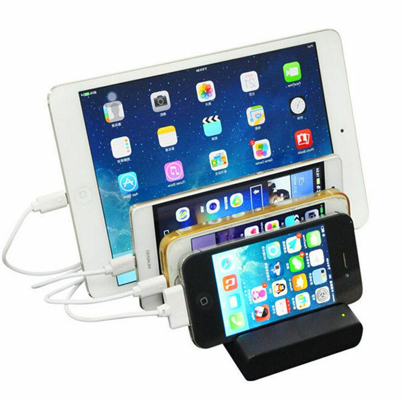 4Port USB Charging Dock Station Charger Stand Organizer For