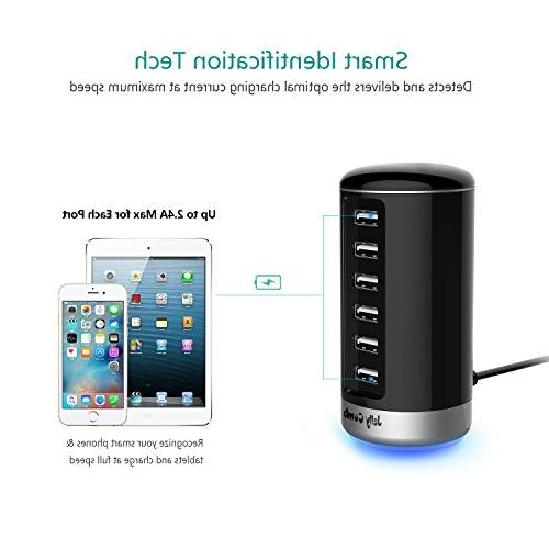 USB Charger, Jelly Universal 6 Ports USB Station Smart for iPhone, Android and Virtually All USB Enabled