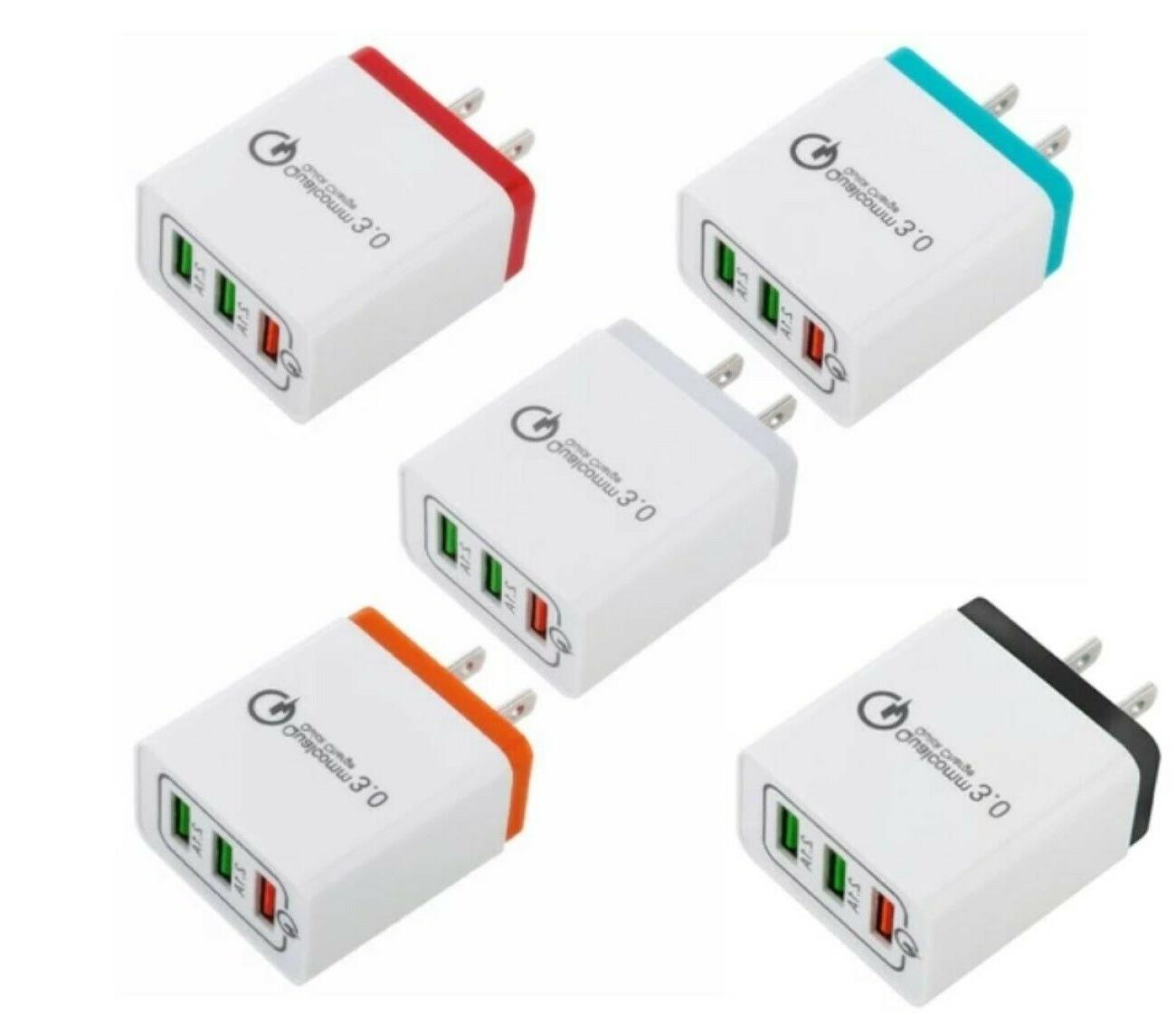 3 Port Wall Charger 3.0 for Cell iPhone Samsung