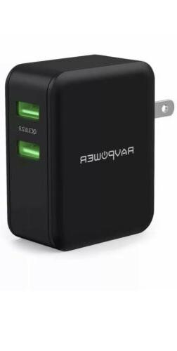 RAVPower USB Quick Charger, 36W 3.0 Wall Charger, Dual USB P