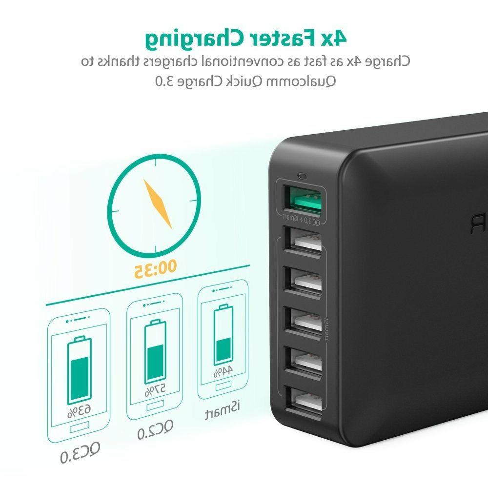 USB Quick Charger RAVPower 60W 6-Port Quick Charge 3.0 Fast