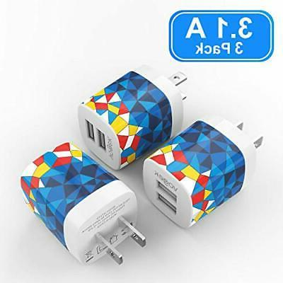 USB Charger Vogek 3.1A 3-Pack Dual USB Wall Adapter