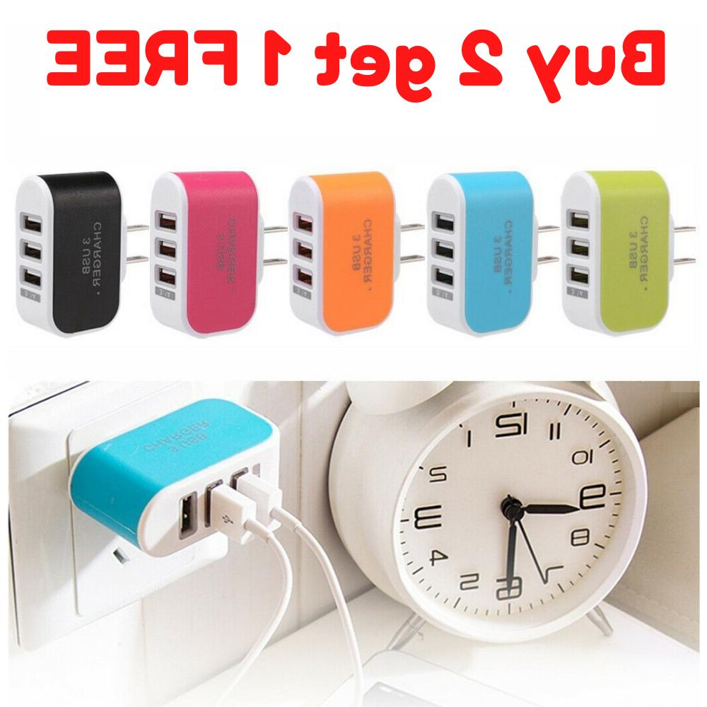 usb wall charger 3 port station travel
