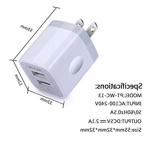 Wall Charger, Ailkin 2-Port USB Home Travel X/8/7/7 Plus, Samsung HTC, LG, Table, and More