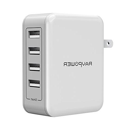 Wall Charger RAVPower 40W 8A USB Plug Charger with 4x iSmart