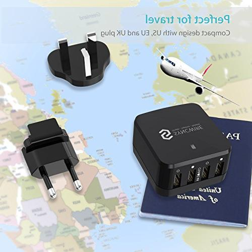 USB Plug Syncwire 4-Port Fast Charger US EU for Apple / / 6s / / Samsung Galaxy / & - Black