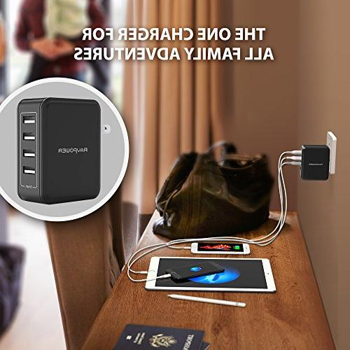 USB Charger RAVPower 40W 8A Travel Charger Station, Compatible Xs XR X Plus, Ipad Mini, Galaxy S8 Note Tablet More