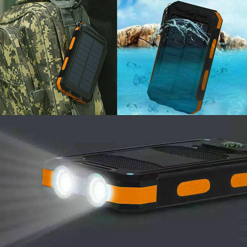 waterproof 500000mah dual usb portable solar charger