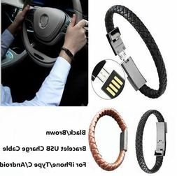 Leather Sports Bracelet USB Charger Cable Data Line Adapter