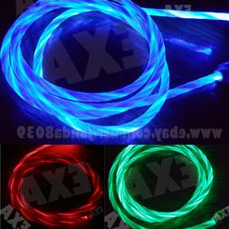 LED Light flowing Visible USB Charger Charging Cable Cord Fo