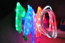 LIGHT UP LED el Glow USB Charger Data Cable Cord for iPhone