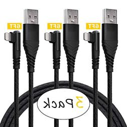 90 Degree 3Pack 6ft Long Charger Cable,ICESMART for 6 Foot R