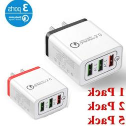 LOT 3Port Fast Quick Charge QC 3.0 USB Hub Wall Charger Adap