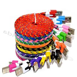 LOT Flat Braided Micro USB Charger Cable Cord Sync For Andro