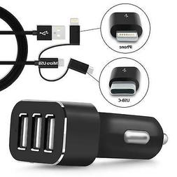 Multi 3 Port USB Car Charger Power Adapter For Cell Phone Hi