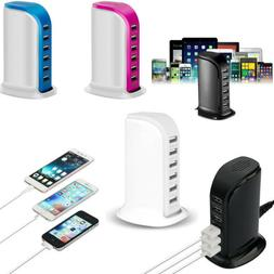 Multi 6 / 5 USB Port Charger Rapid Tower Charging Station Po