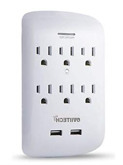 6 Outlet Wall Adapter Tap with USB Charger, Dual 3.1A USB Po