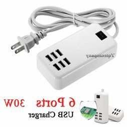 Multi Port USB Charger 6 Ports Adapter Travel Wall AC Power