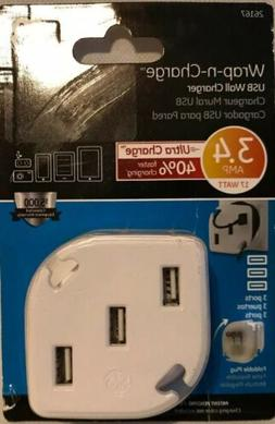 GE Multi-Port USB Wall Charger for Home & Travel 3 USB Ports