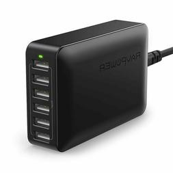 Multi USB Charger RAVPower 60W 12A 6-Port Desktop USB Chargi