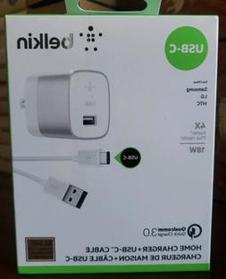 NEW Belkin iPhone & iPad 18W USB-C Wall Charger+Cable - Free