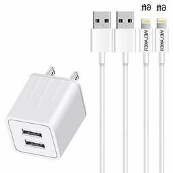 YUNSONG Phone Charger Fast Charging Cable 2Pack 6Ft Extra Lo