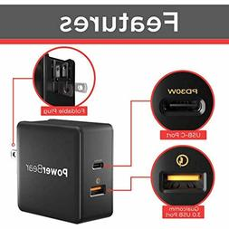 PowerBear PD Wall Charger 48W Dual USB Charger USB Type C Qu