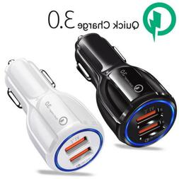 QC 3.0 Fast Car Charger Adapter Dual USB For iPhone XS MAX S