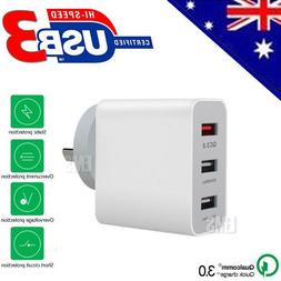QC3.0 USB Ports Fast Charging Wall Charger Power Adapter For