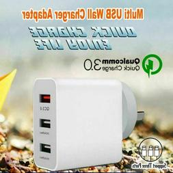 QC3.0 3 USB Ports Wall Charger Fast Charging Power Adapter F