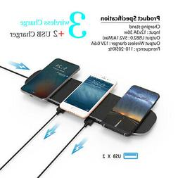 Qi Wireless Charger Charging Pad Station Dual USB Hub For iW