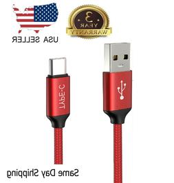RED Braided USB-C to USB-A Fast Charging Cable Quick Charger