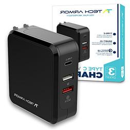 Tech Armor 3-Port SMART Wall Charger - Type-C USB with Qualc