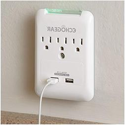 ECHOGEAR Super Slim On-Wall Surge Protector - 3 AC Outlets &