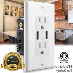 Tamper Resistant Outlet TR Receptacle 15A Wall Plate 2x 4.2A