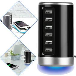 Tower Desktop USB Hub Charger 6 Port Charging Station Smart