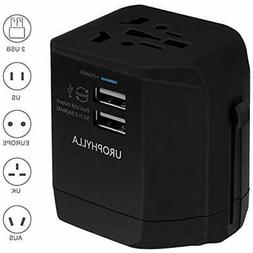 Travel Adapter,UROPHYLLA Universal European Dual Fuses 2.5A