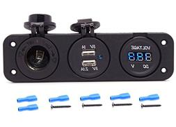 Cllena Triple Function Dual USB Charger + Blue LED Voltmeter