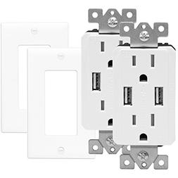 TOPGREENER TU2152A-W-2PCS Wall Outlet with USB, Dual USB Cha