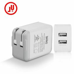 UL certified 2.4/1A Travel Dual 2 Port AC USB Wall Charger F