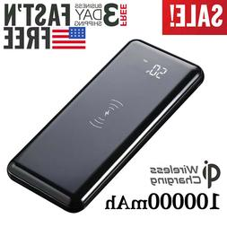 US Qi Wireless Charger 100000mAh portable Power Bank  Extern
