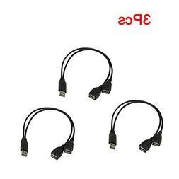 Karcy 3Pcs USB 2.0 A Male to Dual Data USB 2.0 A Female Dual