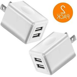 USB 2.1A Charger, 2-Pack 10W USB Power Adapters Fast Dual Po