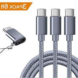 USB Type C Cable OULUOQI USB C Cable 3 Pack Nylon Braided Fa