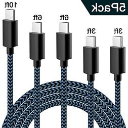 WUXIAN USB Type C Cable 5Pack  Nylon Braided USB A to USB C