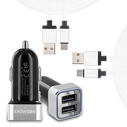 USB C Cable, PROWORX Fast Charge Car Charger & 2 Type C Long